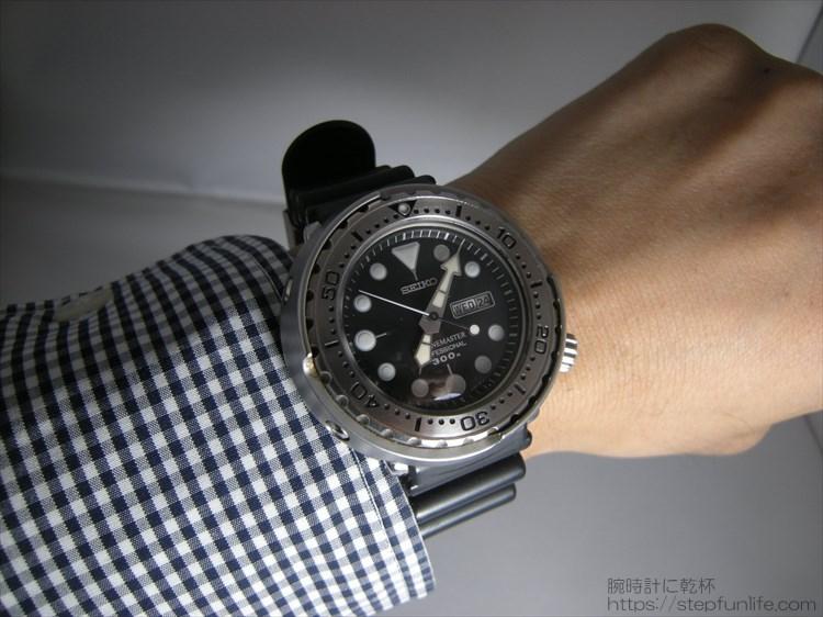 セイコーのダイバーズ時計(sbbn017) ツナ缶の装着イメージ