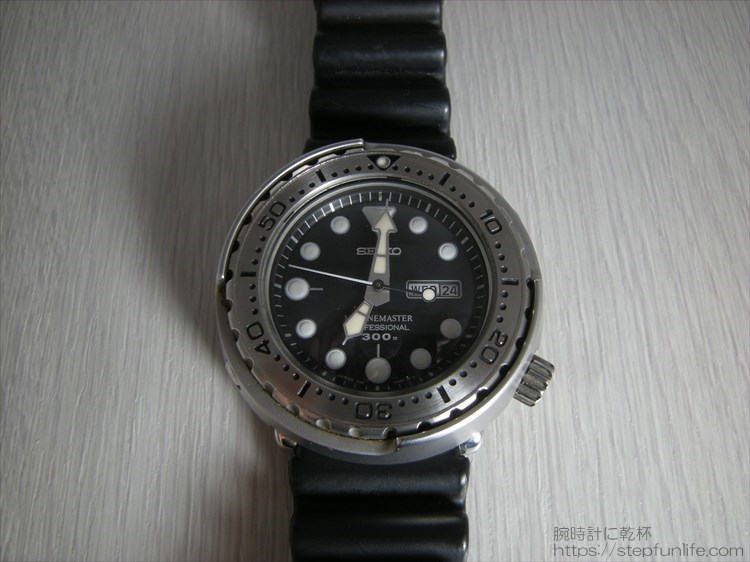 セイコーのダイバーズ時計(sbbn017) ツナ缶 正面から