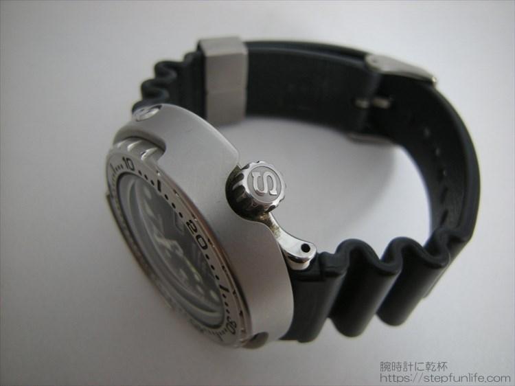 セイコーのダイバーズ時計(sbbn017) ツナ缶のリューズ