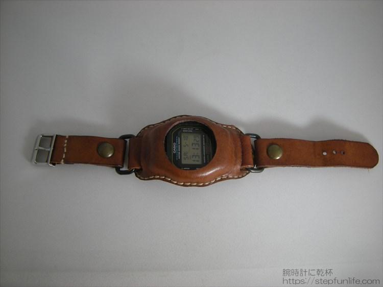 Gショック(G-SHOCK)レザーカスタム DW-5600 (茶)全体