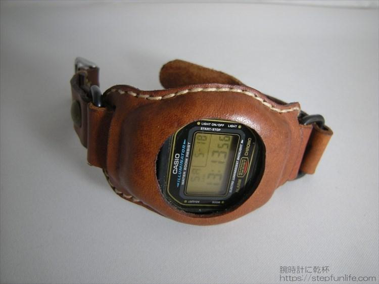 Gショック(G-SHOCK)レザーカスタム DW-5600 (茶)フェイス写真