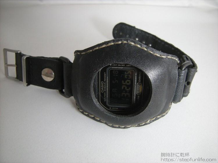 Gショック(G-SHOCK)レザーカスタム DW-5600(黒) フェイス写真