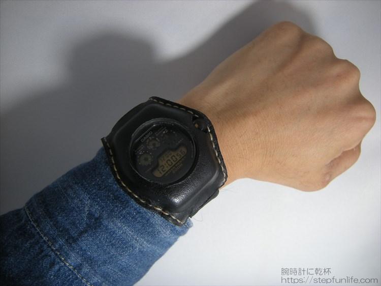 Gショック(G-SHOCK)レザーカスタム DW-5900 (黒)着用イメージ