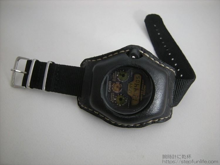 Gショック(G-SHOCK)レザーカスタム DW-5900(黒)フェイス写真