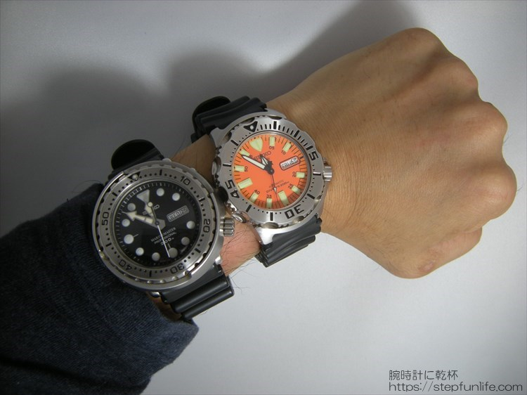 SEIKO 7s26-0350とSBBN017 (オレンジモンスターとツナ缶) 同時に着用
