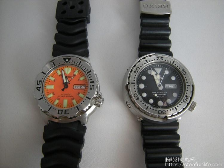 SEIKO 7s26-0350とSBBN017 (オレンジモンスターとツナ缶) フェイスの比較