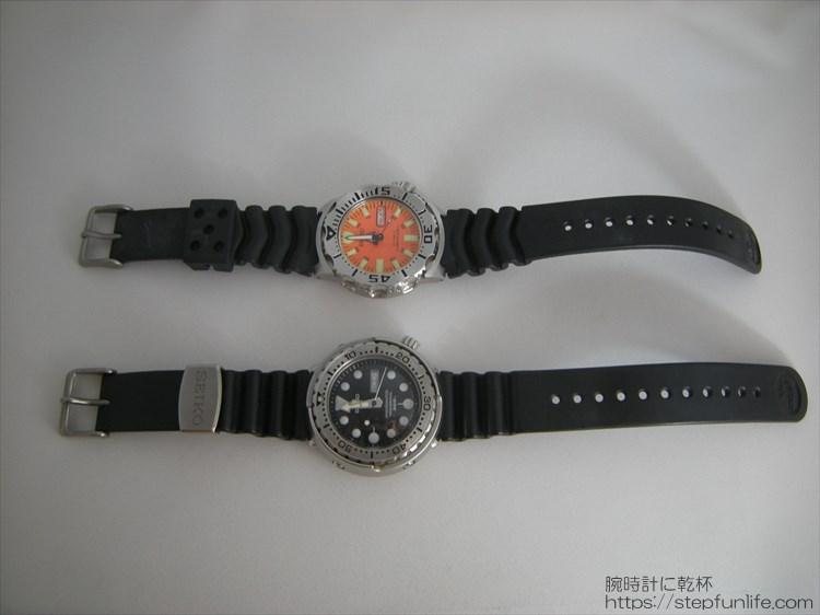 SEIKO 7s26-0350とSBBN017 (オレンジモンスターとツナ缶) 全体比較