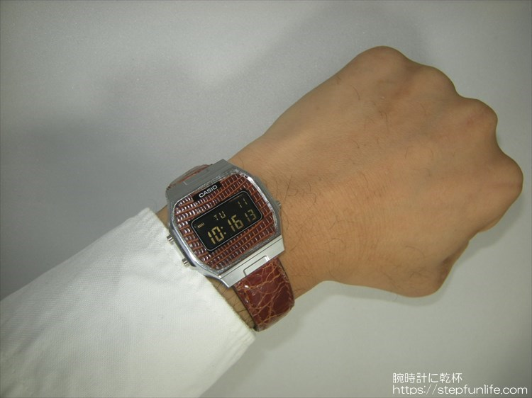 カシオ A164WA-1茶レザーカスタム 着用イメージ