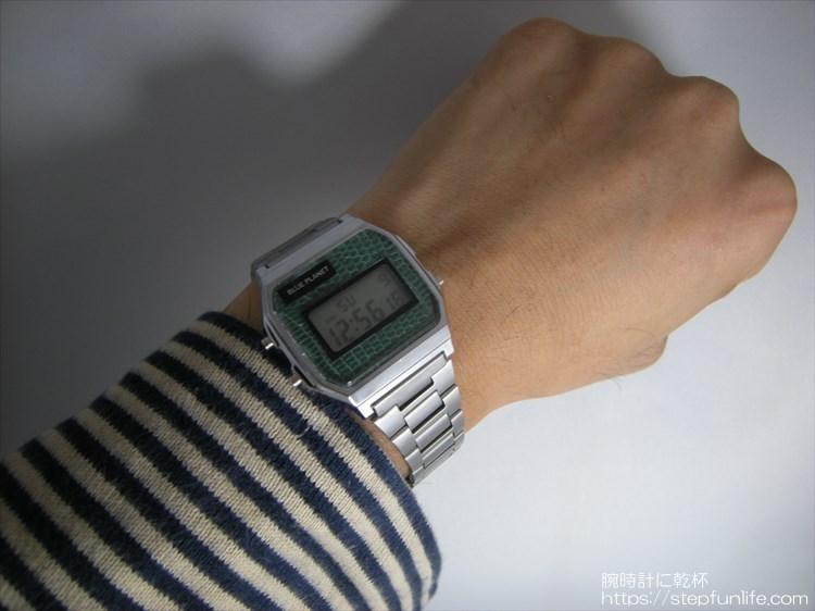 ダイソー300円腕時計(ブループラネット)カスタム ステンレスベルトタイプ装着イメージ