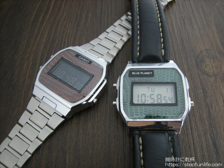 チプカシ(CASIO A164W)カスタム  とダイソー300円腕時計(ブループラネット)カスタム
