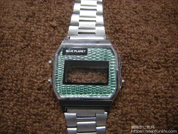 ダイソー300円腕時計(ブループラネット)カスタム レザー装着