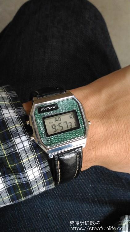 ダイソー300円腕時計(ブループラネット)カスタム レザーベルトタイプ完成