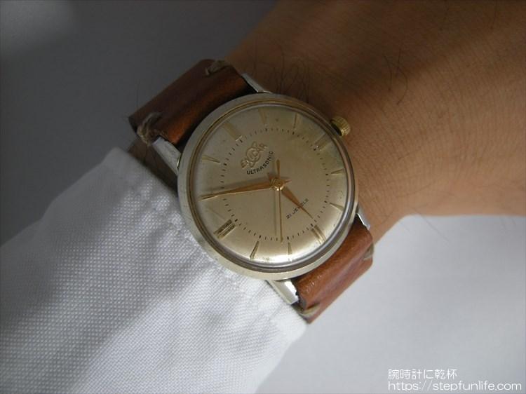 腕時計ベルト自作 エニカ ウルトラソニック(enicar ultra sonic)に装着2