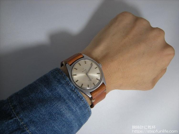 腕時計ベルト自作 オメガ ジュネーブ(omega geneve)装着イメージ