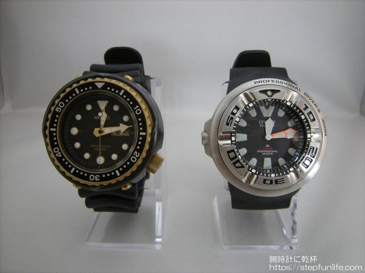 セイコー 「ツナ缶 7c46-7009」とシチズン「 エコジラ BJ8050-08E 」