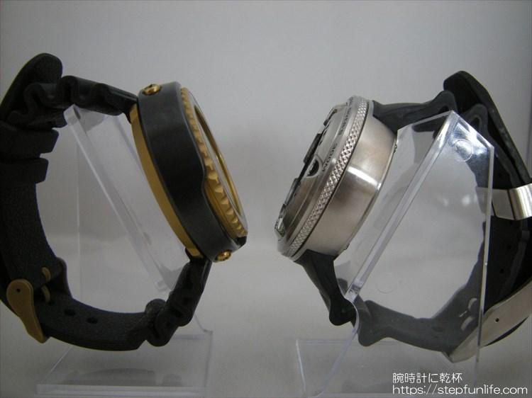 セイコー 「ツナ缶 7c46-7009」とシチズン「 エコジラ BJ8050-08E 」 厚さ比較