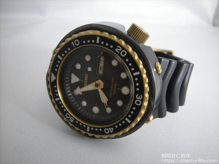 seiko 7c46-7009 ツナ缶 黒×ゴールド フェイス
