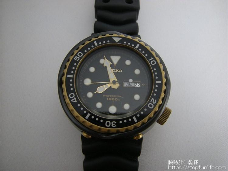 seiko 7c46-7009 ツナ缶 黒×ゴールド フェイス 全体