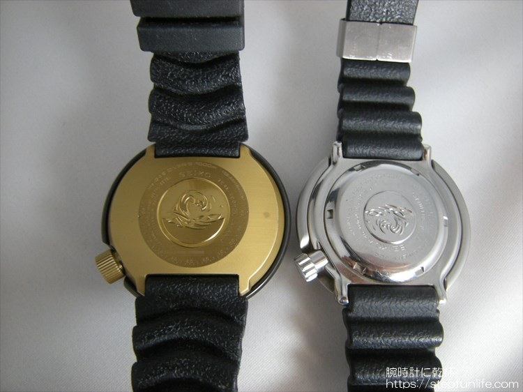 seiko 7c46-7009 ツナ缶とSBBN017 ツナ缶 裏側比較