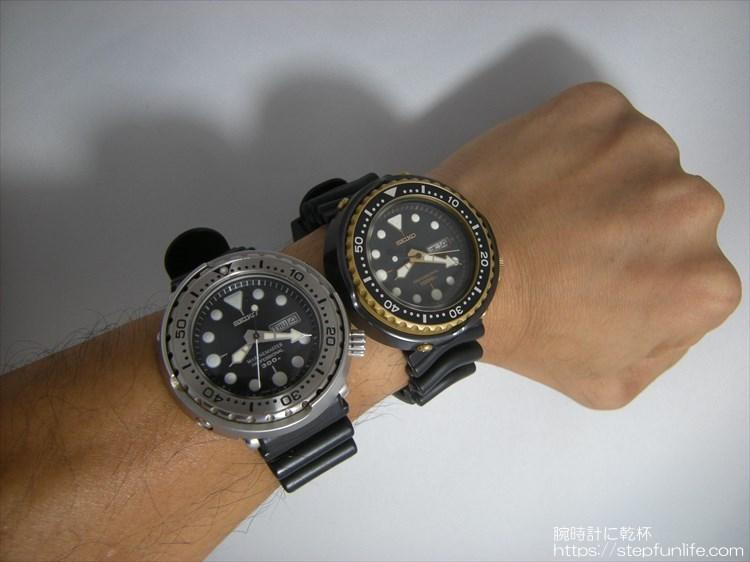 seiko 7c46-7009 ツナ缶とSBBN017 ツナ缶を同時に着用(大きさ比較)