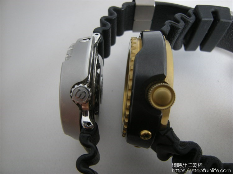 seiko 7c46-7009 ツナ缶とSBBN017 ツナ缶 厚み比較