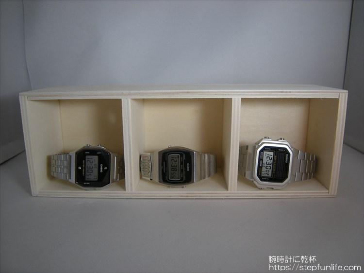 腕時計ディスプレイ (watch display)  木箱3段 収納イメージ