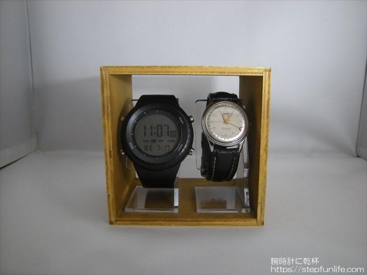 腕時計ディスプレイ (watch display)  木箱とスタンドタイプ ディスプレイイメージ 2本