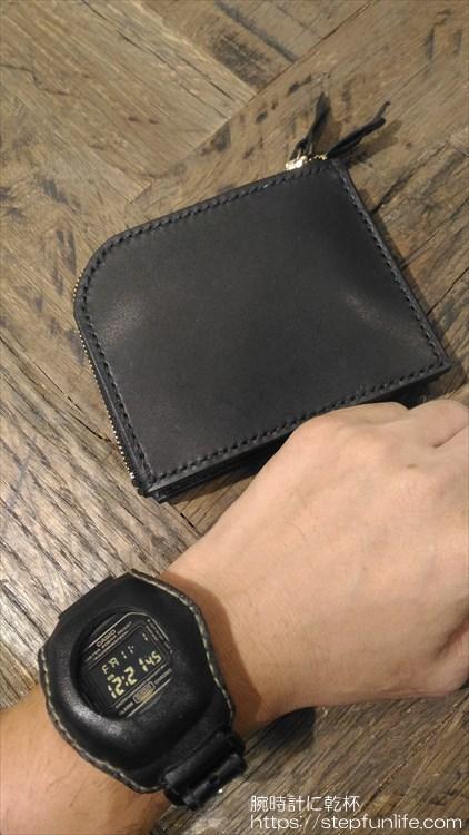 自作L字ファスナー財布 ダブル 完成イメージ ウォッチレザーマスクと一緒に
