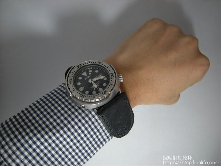 腕時計に鏡を取り付ける 装着イメージ セイコー ツナ缶
