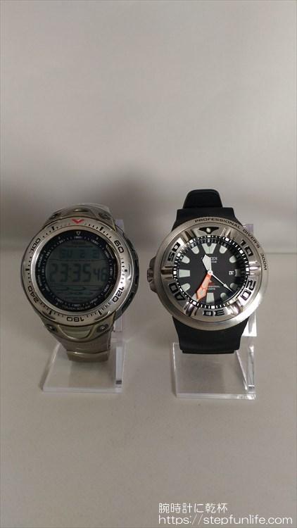 カシオ シーパスファインダー SPF-70TJとシチズン(CITIZEN) ダイバーズ  エコジラ BJ8050-08E