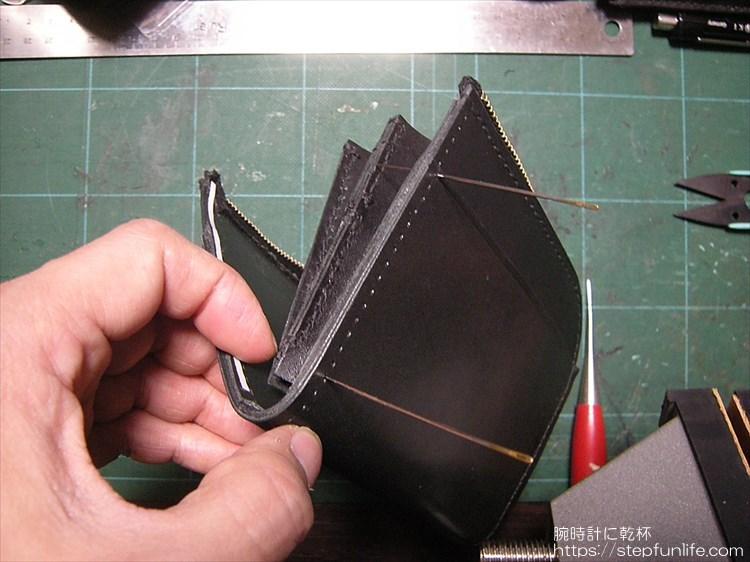 Lファスナー財布(鍵収納付き)を自作 縫い付け