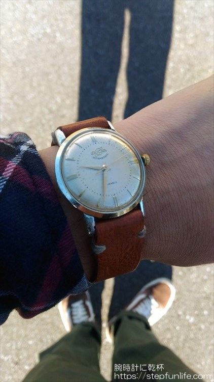 腕時計ベルト自作 エニカ ウルトラソニック(enicar ultra sonic)に装着イメージ5