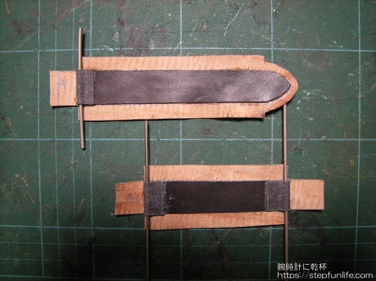自作レザーベルト(リザード)ブラウン 芯材と仕上げ材