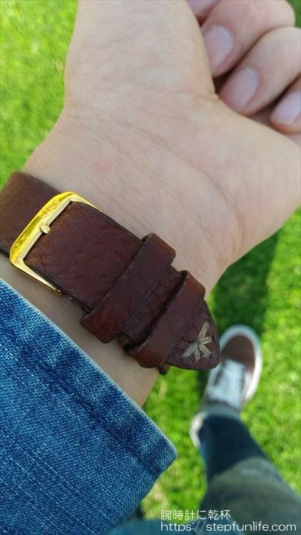 腕時計のベルトを自作する。着用イメージ シチズン アバロン バックル部分