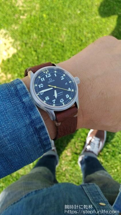 腕時計のベルトを自作する。着用イメージ オメガ ダイナミック
