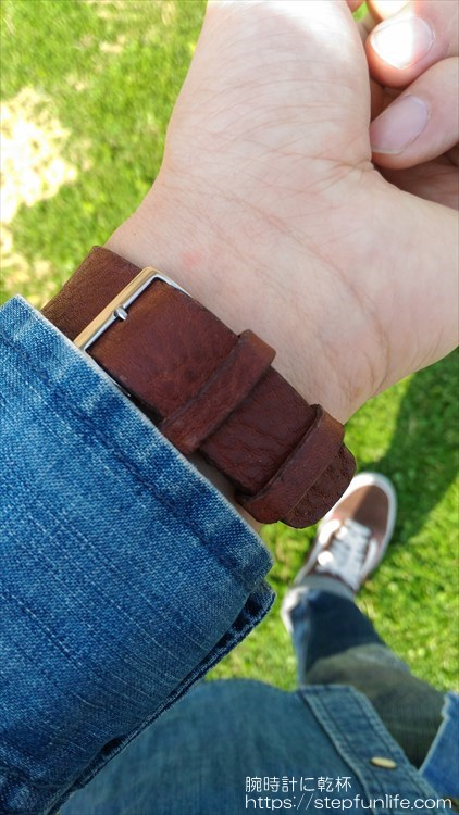 腕時計のベルトを自作する。着用イメージ オメガ ダイナミック バックル部分