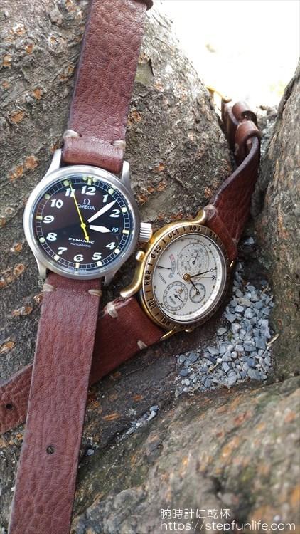腕時計のベルトを自作する。着用イメージ オメガ ダイナミックとシチズン アバロン