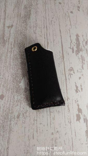エコバッグキーホルダー 本革ライターケース ステッチ黒