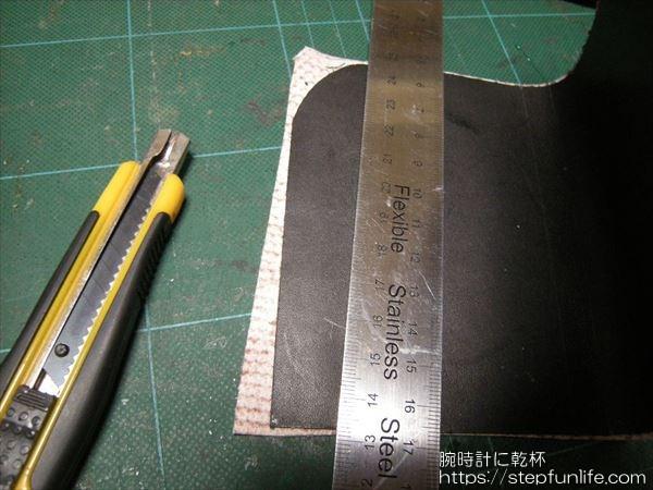 L字ファスナー財布(リザード革)  作成 外装カット