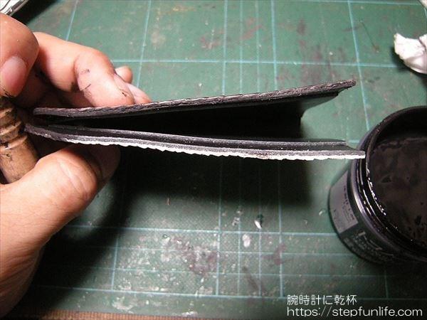 L字ファスナー財布(リザード革)  コバ磨き