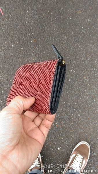 L字ファスナー財布(リザード革)  完成イメージ サイド