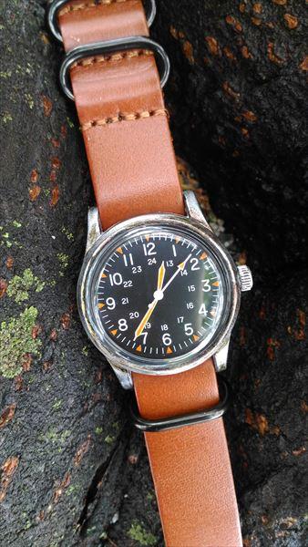ダイソー 500円腕時計 ミリウォッチ 電池交換 完成 レザーNATOベルト