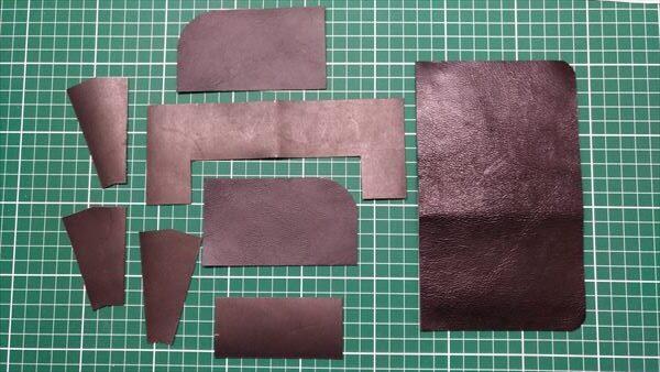L字ファスナー財布を自作。材料切り出し