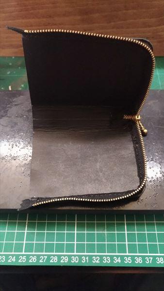 L字ファスナー財布を自作。ファスナー取り付け完了