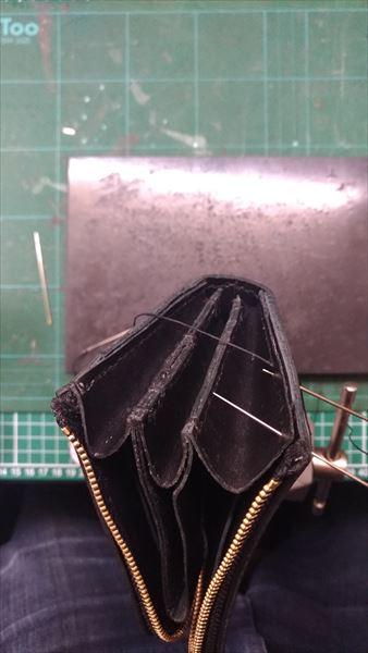 L字ファスナー財布を自作。縫い合わせ2