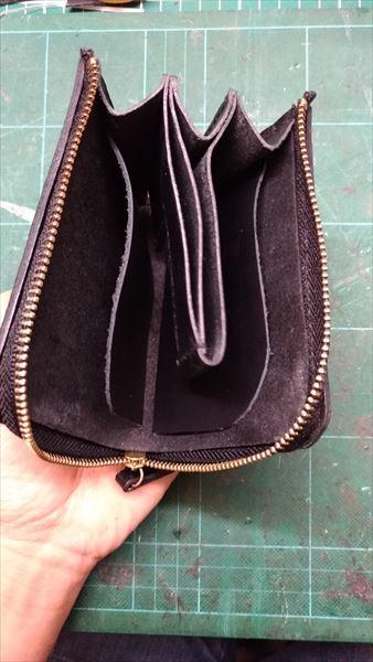 L字ファスナー財布を自作。お札スルーシステム セット完了