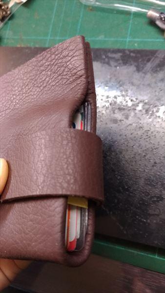 薄い財布を自作(レザークラフト・ハンドメイド) フラップ位置決め