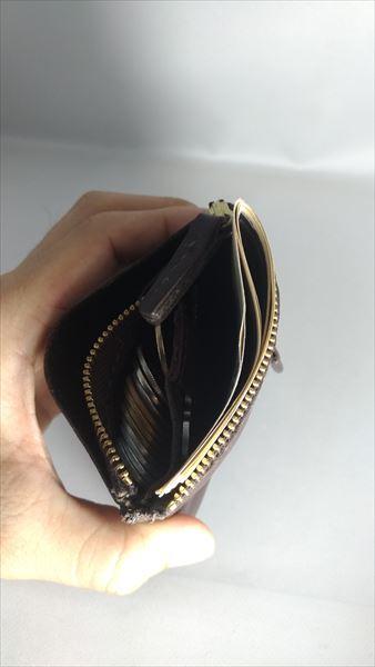 薄い財布を自作(レザークラフト・ハンドメイド) 完成 収納後上部