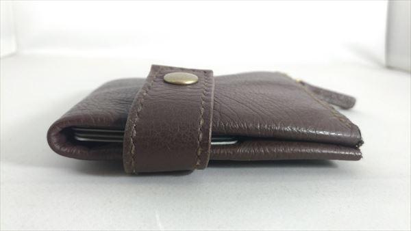 薄い財布を自作(レザークラフト・ハンドメイド) 完成 収納後サイド